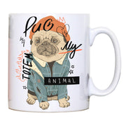 Totem funny pug design mug coffee tea cup - Graphic Gear