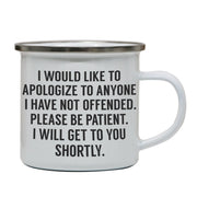I would like to apologize funny rude offensive enamel camping mug outdoor cup - Graphic Gear