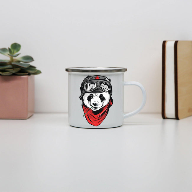 Cool panda illustration design enamel camping mug outdoor cup - Graphic Gear
