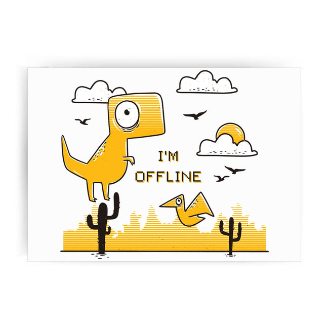 Funny  jumping dino I am offline print poster wall art decor