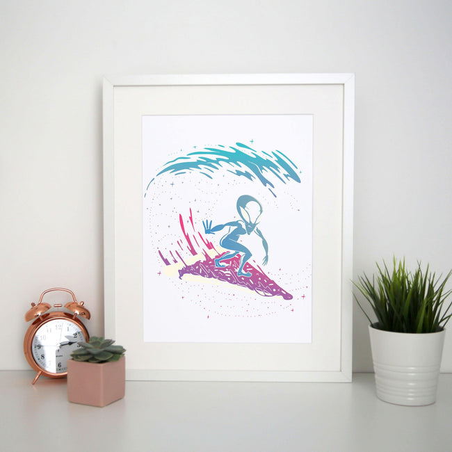 Pizza surfing alien funny illustration print poster wall art decor