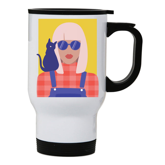 Stylish girl with cat illustration graphic stainless steel travel mug eco cup - Graphic Gear