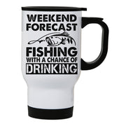 Weekend forecast fishing funny stainless steel travel mug eco cup - Graphic Gear