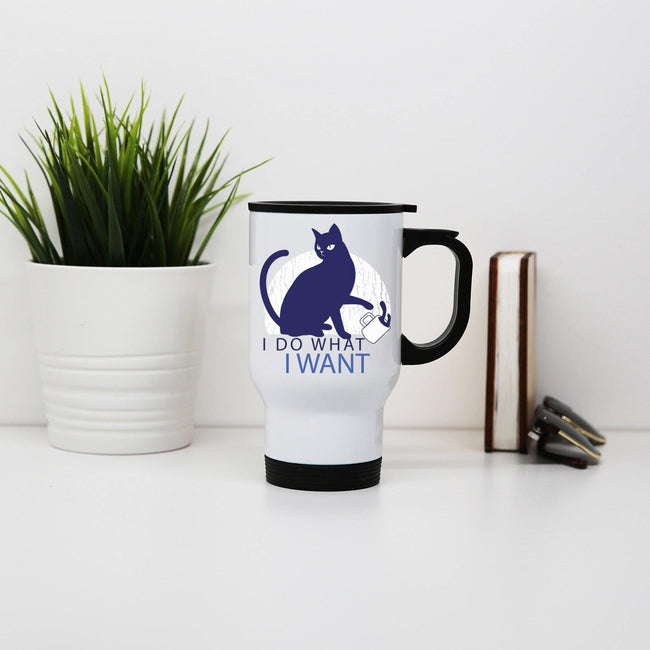 Rebel cat funny stainless steel travel mug eco cup - Graphic Gear