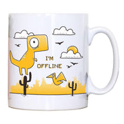 Funnyjumping dino I am offline mug coffee tea cup