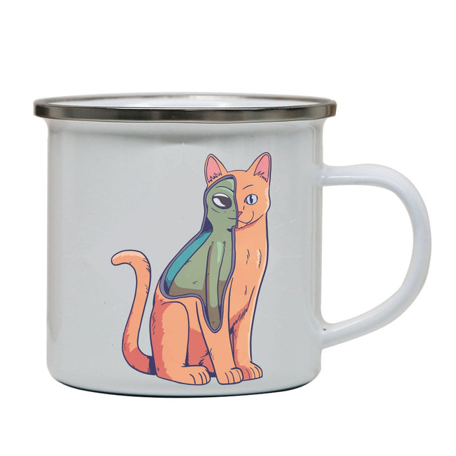 Alien cat funny costume enamel camping mug outdoor cup