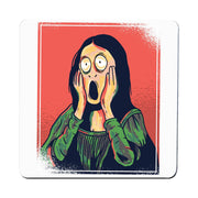 Cartoon mona lisa Coaster drink mat - Graphic Gear
