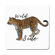 Wildside leopard print illustration graphic design coaster drink mat - Graphic Gear
