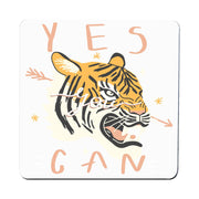 Yes you can tiger illustration graphic design coaster drink mat - Graphic Gear