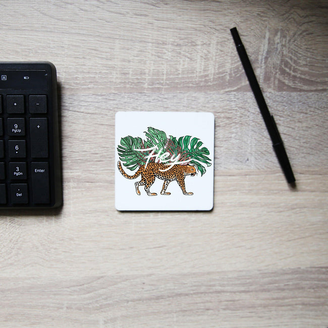 Hey illustration graphic design coaster drink mat - Graphic Gear