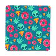 Cute alien cannabis pattern design funny coaster drink mat - Graphic Gear