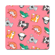Cute animal pattern design funny illustration coaster drink mat - Graphic Gear
