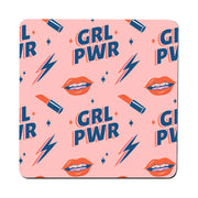 Girl power women's day pattern design coaster drink mat - Graphic Gear
