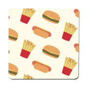 Hot dogs hamburgers fries pattern design funny coaster drink mat - Graphic Gear