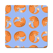 Orange cat pattern design funny illustration coaster drink mat - Graphic Gear