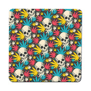 Skull cannabis pattern design funny illustration coaster drink mat - Graphic Gear