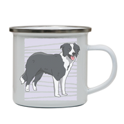Border collie dog enamel camping mug outdoor cup colors