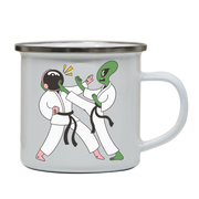 Space karate funny enamel camping mug outdoor cup colors