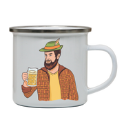 Hipster man with beer enamel camping mug outdoor cup colors