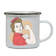 Rosie the riveter enamel camping mug outdoor cup colors