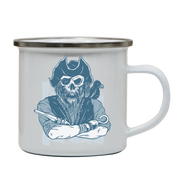 Skeleton pirate enamel camping mug outdoor cup colors