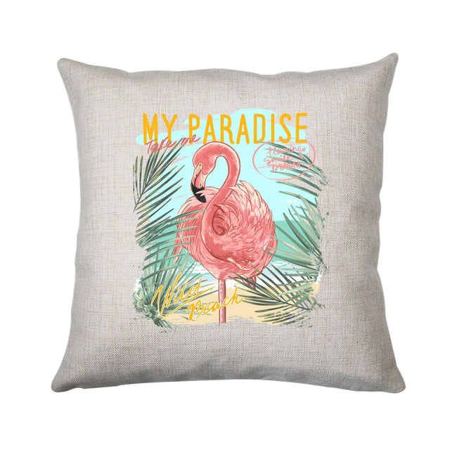 My paradise flamingo illustration cushion cover pillowcase linen home decor - Graphic Gear