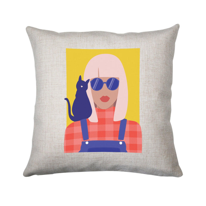 Stylish girl with cat illustration graphic cushion cover pillowcase linen home decor
