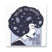 Universe girl inspirational quote coaster drink mat