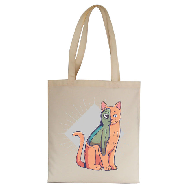 Alien cat funny costume tote bag canvas shopping