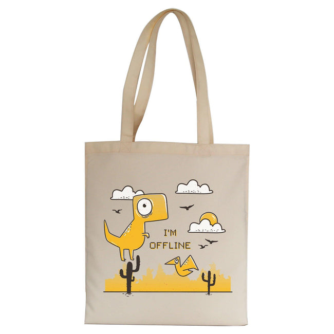 Funny  jumping dino I am offline tote bag canvas shopping