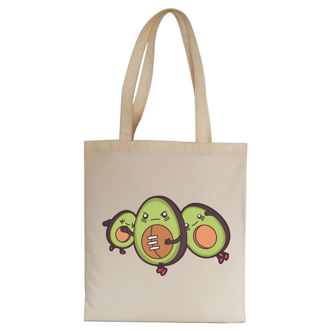 Funny avocado football tote bag canvas shopping