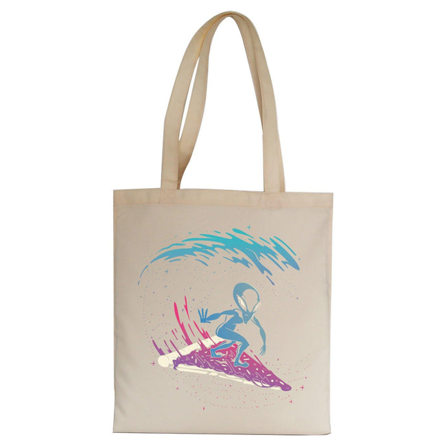 Pizza surfing alien funny illustration tote bag canvas shopping