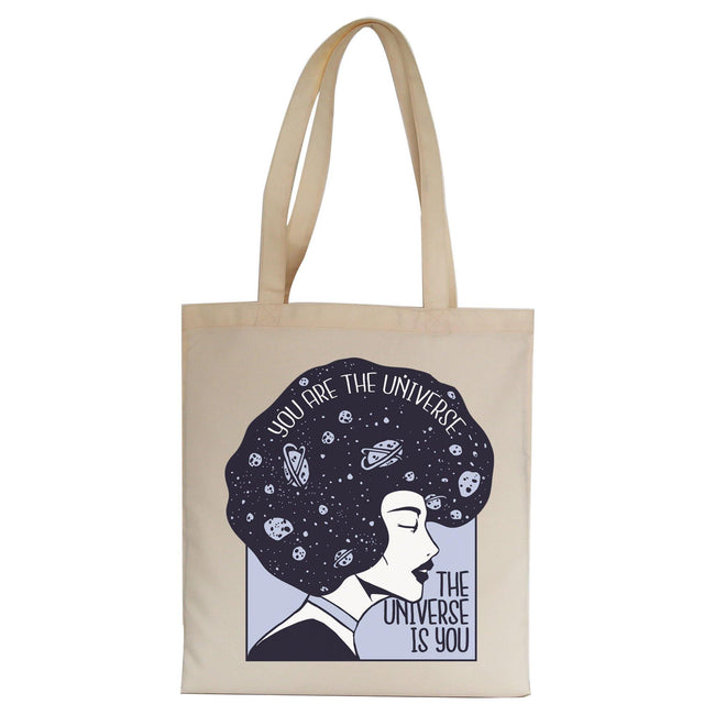 Universe girl inspirational quote tote bag canvas shopping