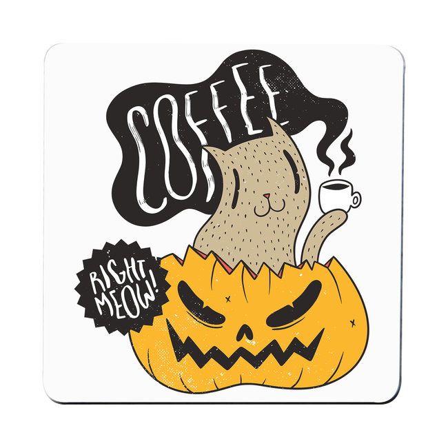 Coffee right meow drinking halloween coaster drink mat
