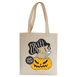 Coffee right meow drinking halloween tote bag canvas shopping
