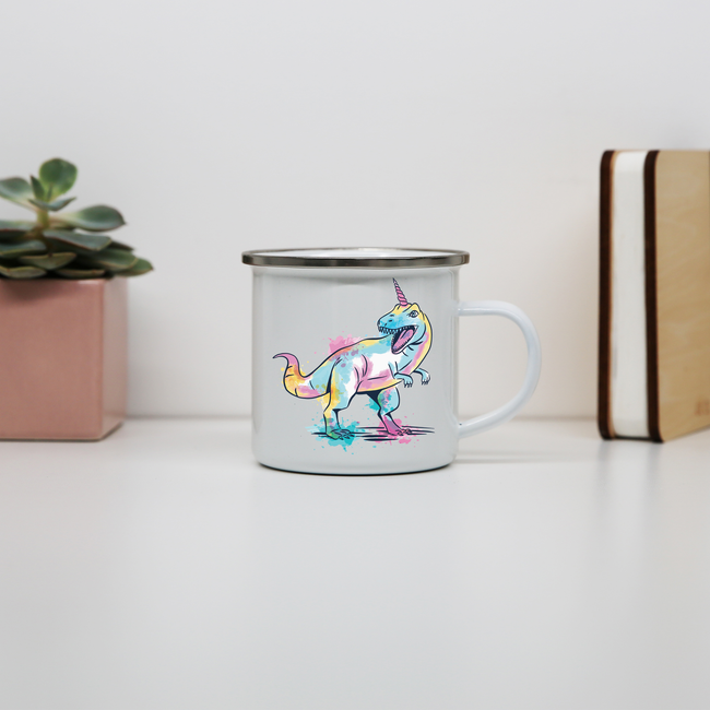 Watercolor unicorsaurus enamel camping mug outdoor cup colors