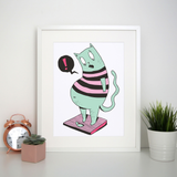Fat cat funny print poster wall art decor