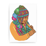 Peruvian Musician print poster wall art decor