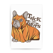 Trick or treats bulldog print poster wall art decor