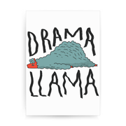 Drama llama funny print poster wall art decor