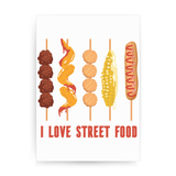 Street food love print poster wall art decor