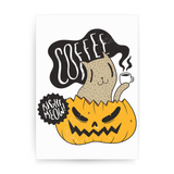 Coffee right meow drinking halloween print poster wall art decor - Graphic Gear