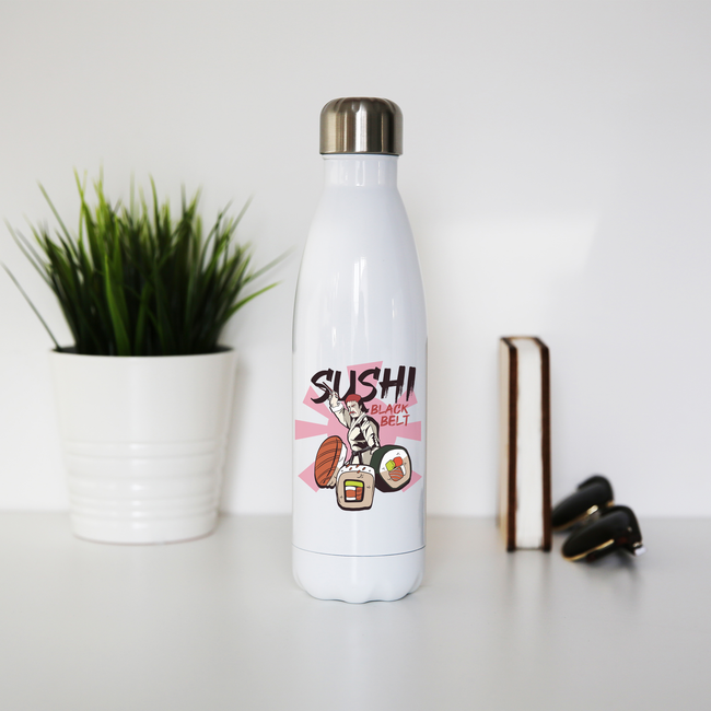 Sushi black belt funny water bottle stainless steel reusable