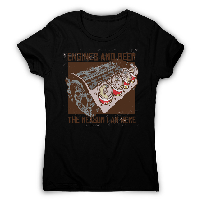 Engines and beer women's t-shirt - Graphic Gear