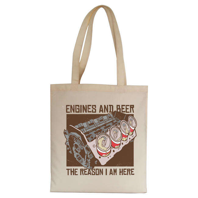 Engines and beer tote bag canvas shopping - Graphic Gear