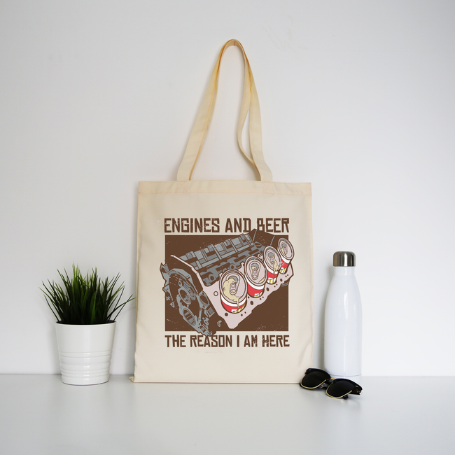 Engines and beer tote bag canvas shopping