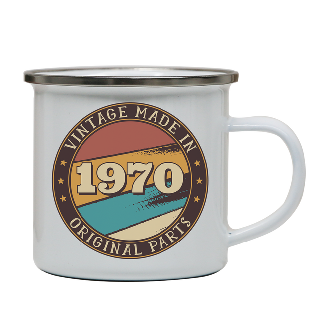 Vintage birthday editable quote enamel camping mug outdoor cup colors - Graphic Gear