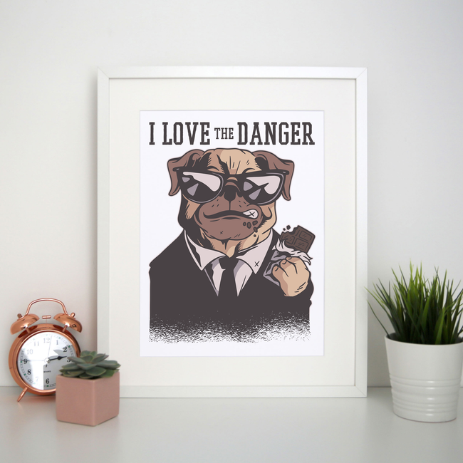 Dog danger print poster wall art decor - Graphic Gear