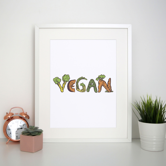 Vegan vegetables print poster wall art decor