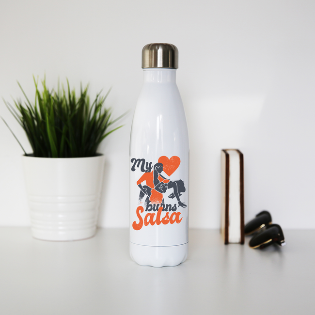 Salsa heart water bottle stainless steel reusable - Graphic Gear